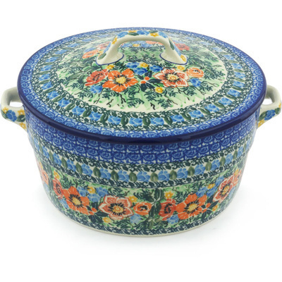 Polish Pottery Baker with Cover with Handles 8-inch Blue Daisy Bouquet UNIKAT