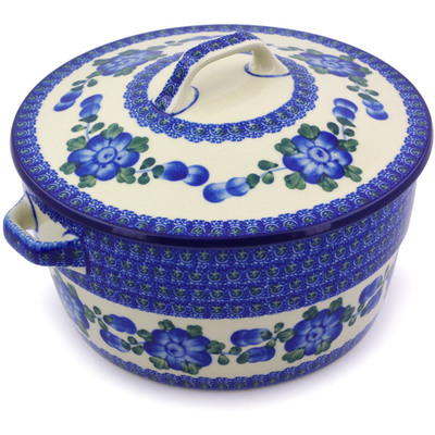 Polish Pottery Baker with Cover with Handles 8-inch Blue Poppies