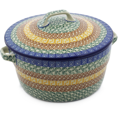 Polish Pottery Baker with Cover with Handles 8-inch Grecian Sea
