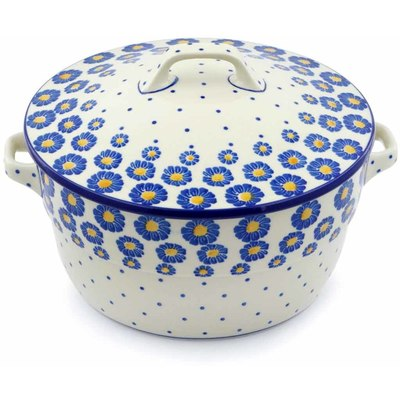 Polish Pottery Baker with Cover with Handles 8-inch Wreath Of Blue