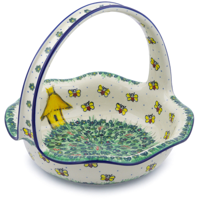"Polish Pottery Basket with Handle 11"" Bee Happy UNIKAT"