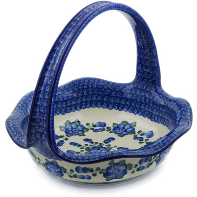 "Polish Pottery Basket with Handle 11"" Blue Poppies"