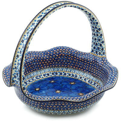 "Polish Pottery Basket with Handle 11"" Blue Poppies UNIKAT"