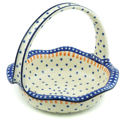 "Polish Pottery Basket with Handle 11"" Classic Americana"