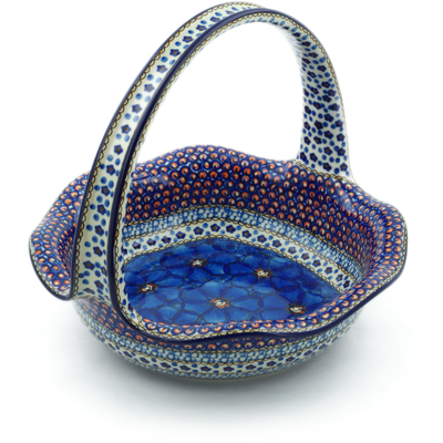 "Polish Pottery Basket with Handle 11"" Cobalt Poppies UNIKAT"