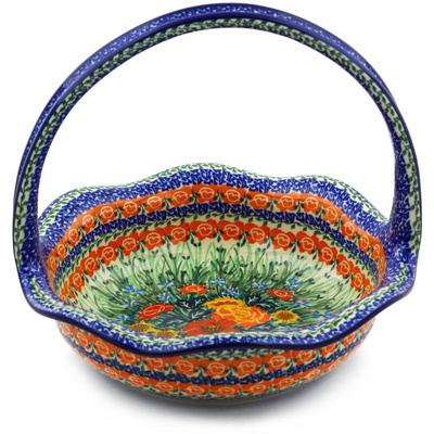 "Polish Pottery Basket with Handle 11"" Fiery Bouquet UNIKAT"