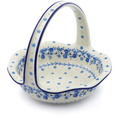 "Polish Pottery Basket with Handle 11"" White Pansy"