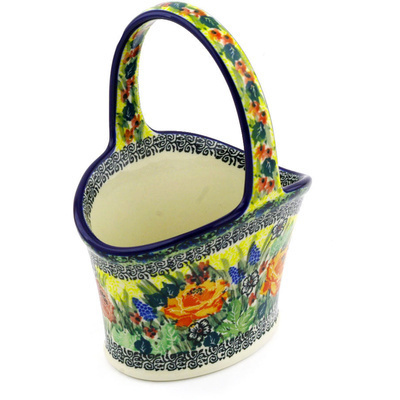 "Polish Pottery Basket with Handle 7"" Copper Rose Meadow UNIKAT"