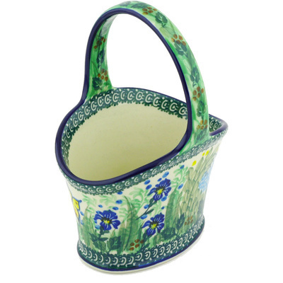 "Polish Pottery Basket with Handle 7"" Spring Garden UNIKAT"