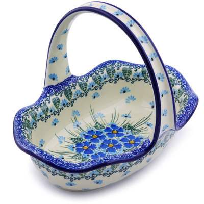 "Polish Pottery Basket with Handle 8"" Forget Me Not"