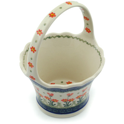 "Polish Pottery Basket with Handle 8"" Peach Spring Daisy"