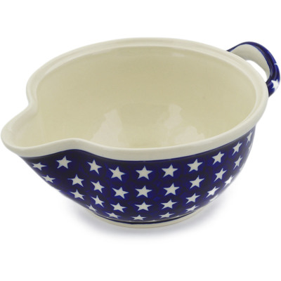 "Polish Pottery Batter Bowl 10"" America The Beautiful"