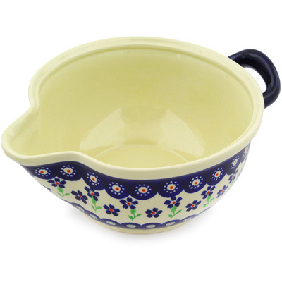 "Polish Pottery Batter Bowl 10"" Bright Peacock Daisy"