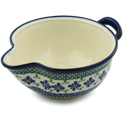 "Polish Pottery Batter Bowl 10"" Gingham Flowers"