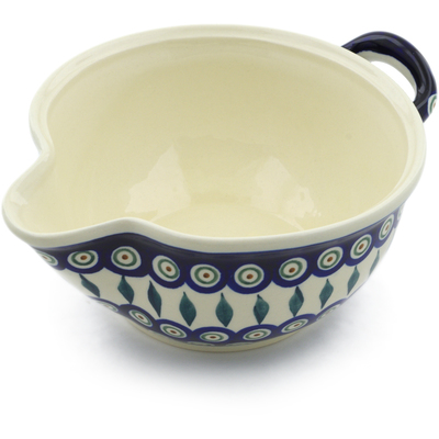 "Polish Pottery Batter Bowl 10"" Peacock Leaves"