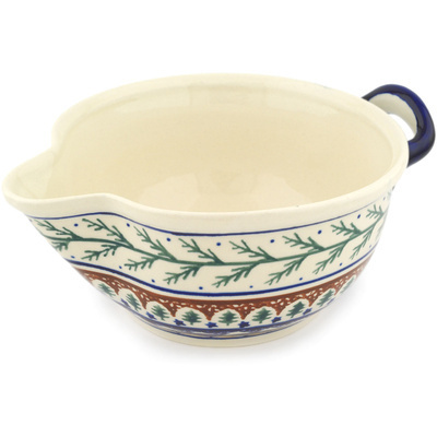 "Polish Pottery Batter Bowl 10"" Pine Boughs"