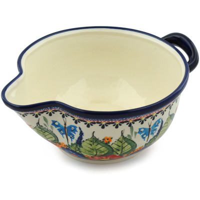 "Polish Pottery Batter Bowl 10"" Spring Splendor UNIKAT"