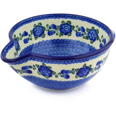 "Polish Pottery Batter Bowl 12"" Blue Poppies"
