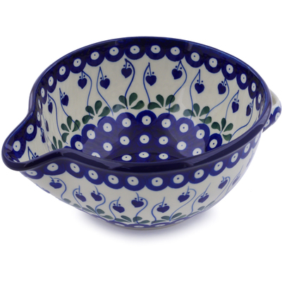 Polish Pottery Batter Bowl 7½-inch Bleeding Heart Peacock