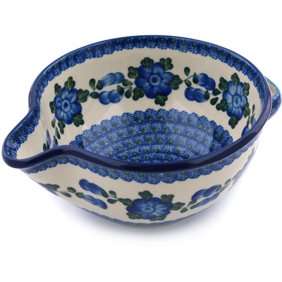 Polish Pottery Batter Bowl 7½-inch Blue Poppies
