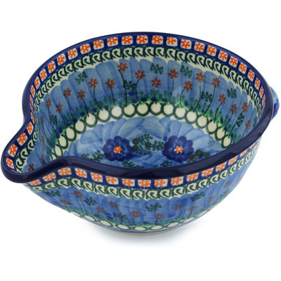 Polish Pottery Batter Bowl 7½-inch Blue Poppy Circle UNIKAT