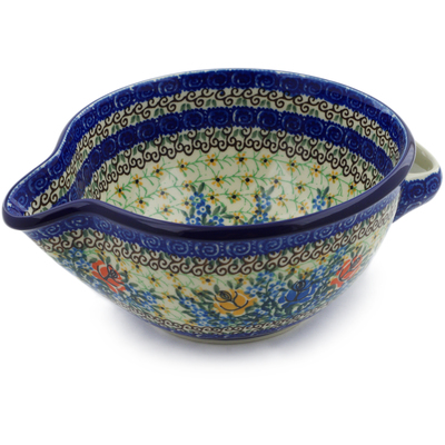 Polish Pottery Batter Bowl 7½-inch Bluebonnets And Roses UNIKAT