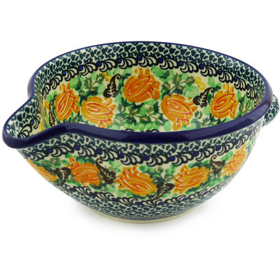 Polish Pottery Batter Bowl 7½-inch Budding Hibiscus UNIKAT
