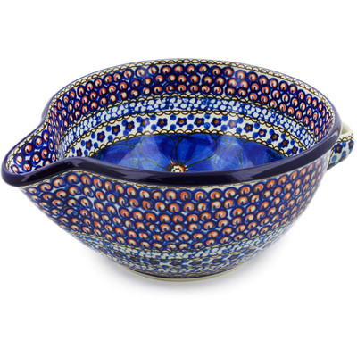 Polish Pottery Batter Bowl 7½-inch Cobalt Poppies UNIKAT
