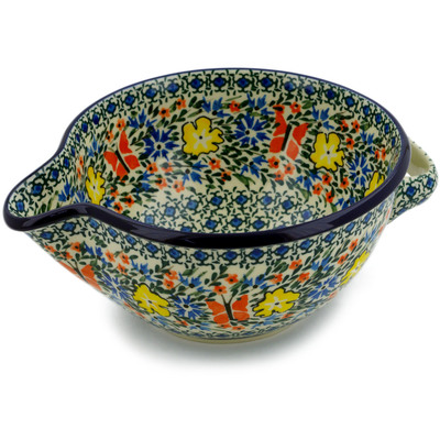 Polish Pottery Batter Bowl 7½-inch Daylight Garden UNIKAT