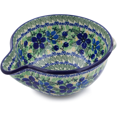 Polish Pottery Batter Bowl 7½-inch Forget Me Not Meadow UNIKAT