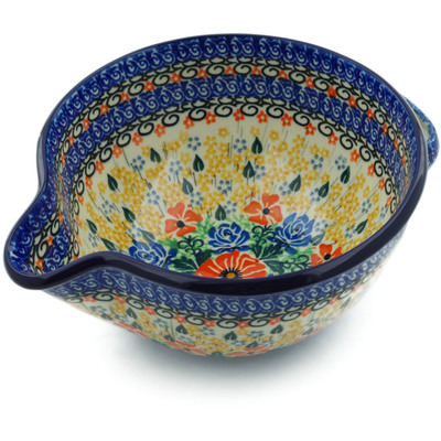 Polish Pottery Batter Bowl 7½-inch Golden Daisies UNIKAT