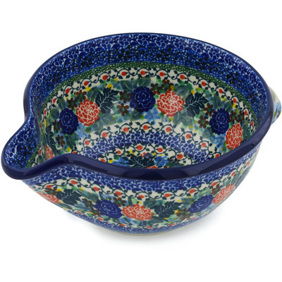 Polish Pottery Batter Bowl 7½-inch Robbin's Meadow UNIKAT