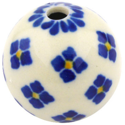 "Polish Pottery Bead 1"" Four Square Flower"
