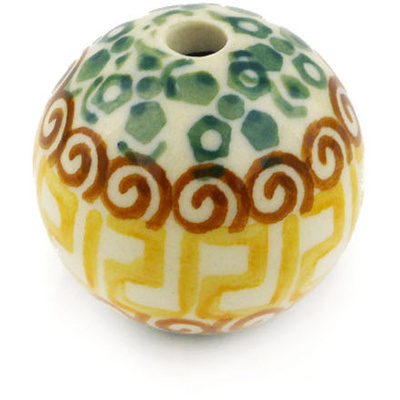 "Polish Pottery Bead 1"" Mediterranean Sea"