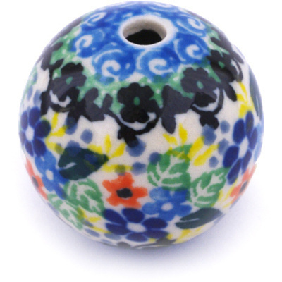 "Polish Pottery Bead 1"" Rose Bouquet UNIKAT"