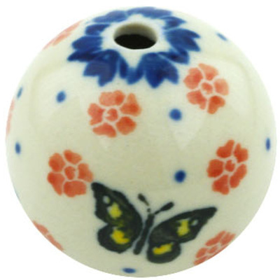 "Polish Pottery Bead 1"" Yellow Butterfly"