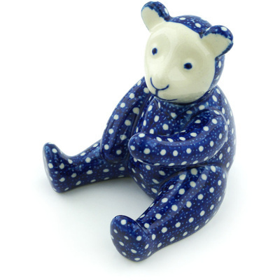 "Polish Pottery Bear Figurine 5"" White Polka Dot UNIKAT"