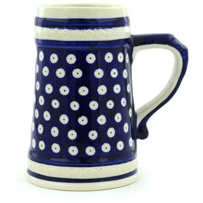 Polish Pottery Beer Mug 22 oz Blue Eyes