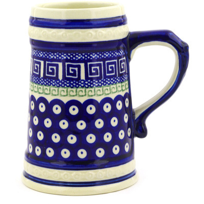 Polish Pottery Beer Mug 22 oz Grecian Peacock