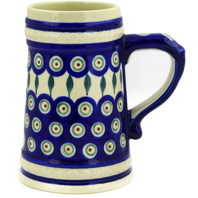 Polish Pottery Beer Mug 22 oz Peacock Leaves