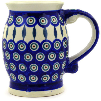 Polish Pottery Beer Mug 25 oz Peacock Leaves