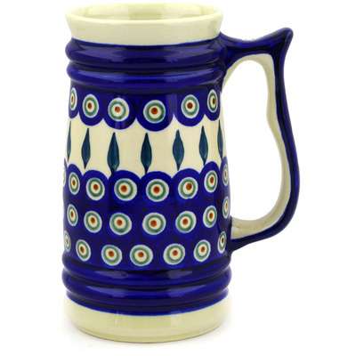 Polish Pottery Beer Mug 32 oz Peacock Leaves