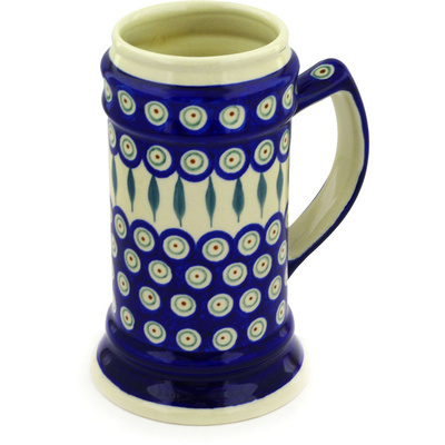 Polish Pottery Beer Mug 35 oz Peacock Leaves