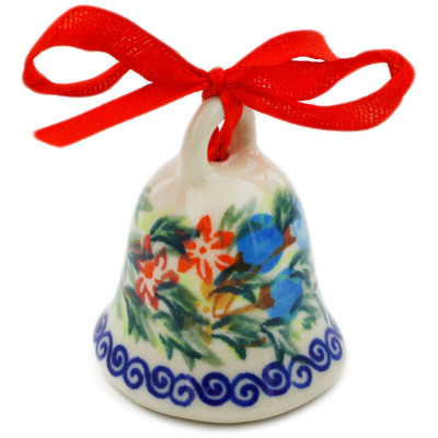 "Polish Pottery Bell Figurine 2"" Red Cornflower And Blue Butterflies UNIKAT"