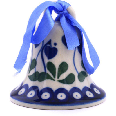 "Polish Pottery Bell Ornament 3"" Bleeding Heart Peacock"