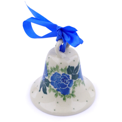 "Polish Pottery Bell Ornament 3"" Floral Spring"