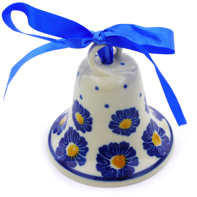 "Polish Pottery Bell Ornament 3"" Flower Pads"