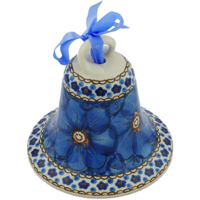 "Polish Pottery Bell Ornament 4"" Cobalt Poppies UNIKAT"