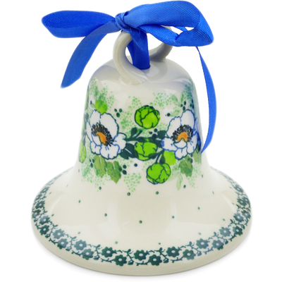 "Polish Pottery Bell Ornament 4"" Daisies Wreath UNIKAT"