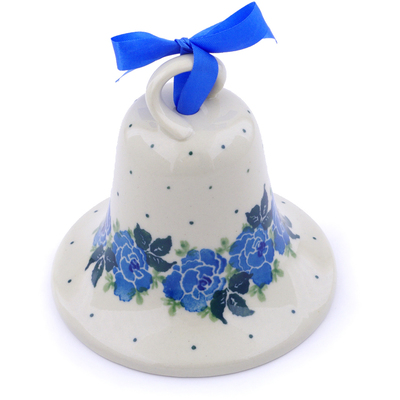 "Polish Pottery Bell Ornament 4"" Floral Spring"